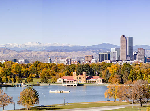 Panoramic view of Denver skyline on a clear day