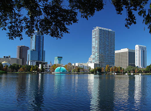 The skyline of Orlando, Florida is seen reflected in the water, with green leafy branches in the foreground and a clear bright blue sky in the background