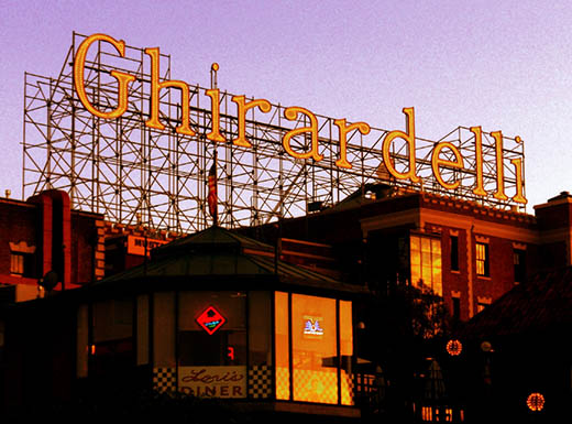"""Famous Ghirardelli Square external sign shown during sunset in San Francisco, California"""""""