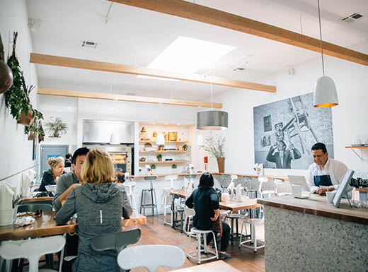 Internal view of a café with people in San Francisco, California