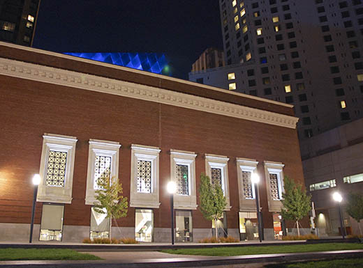 Exterior of the Contemporary Jewish Museum in San Francisco, California at night