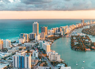 Helicopter view of South Beach, Miami, Florida