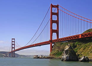The Golden Gate Bridge in San Francisco, California on a clear sunny day