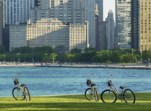"=""bikes parked on grass in front of water along Chicago cityscape"