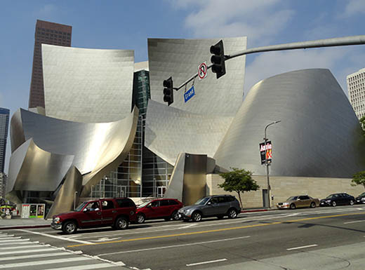 A view of the unique architectural design of the Walt Disney Concert Hall's exterior in Los Angeles, California
