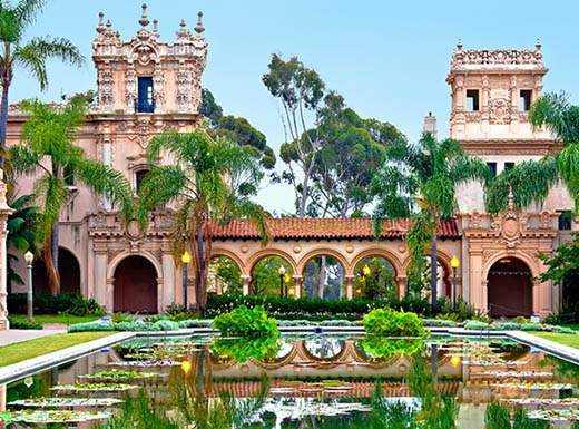 External view of Balboa Park's Casa De building in San Diego, California on a sunny clear day