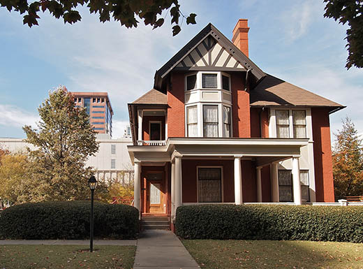 External view of The Margaret Mitchell House, home to the author of Gone with the Wind in Midtown Atlanta, Georgia, on a sunny day