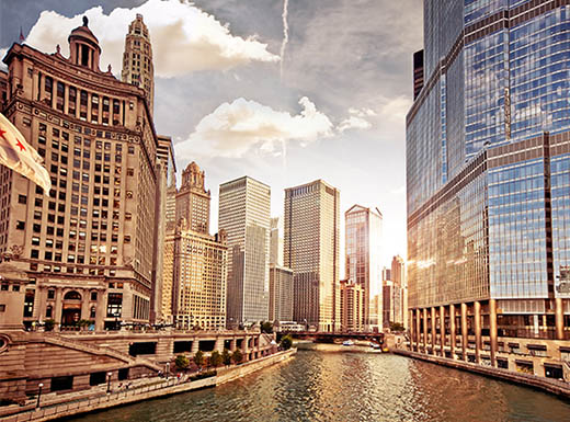 View of the Chicago river and skyline at sunset