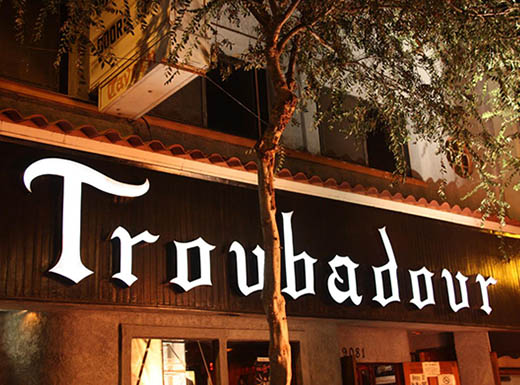 The outside sign of the live music venue, Troubadour in Los Angeles, CA