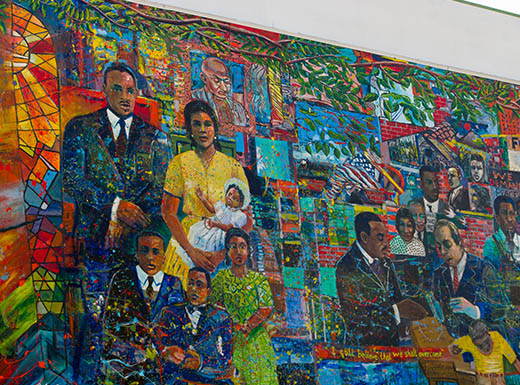 Colorful Visitor Center mural in Atlanta, Georgia shows Martin Luther King Jr and his family