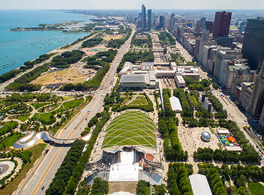 Aerial view of millennium park downtown Chicago