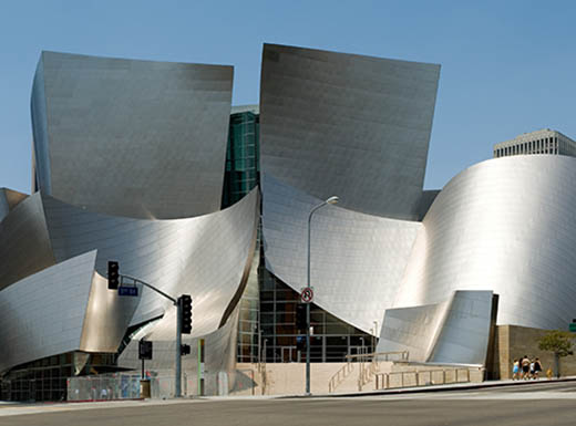 Designed from the inside out, a picture of the Walt Disney Concert Hall building in Los Angeles, CA