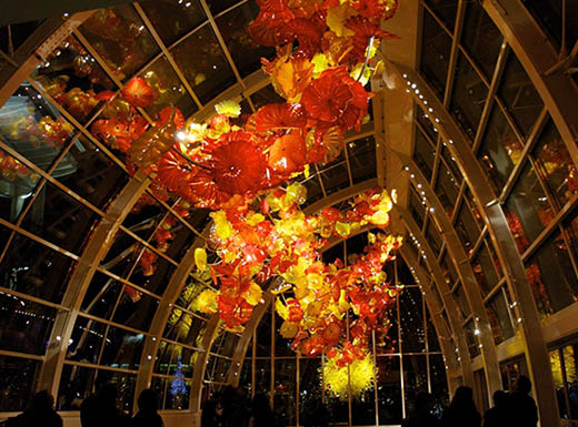 glass sculpture at night in the Chihuly museum in Seattle