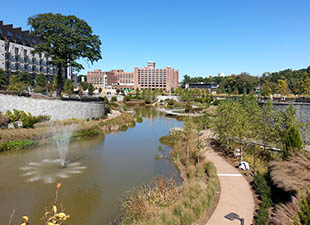 Fourth Ward Park and Ponce City Market on a sunny day in Atlanta