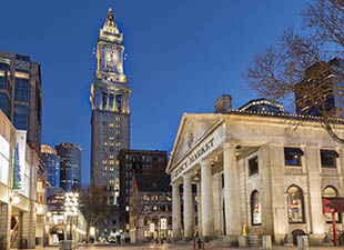 A late autumn evening outside The Quincy Market in Boston, Massachusetts