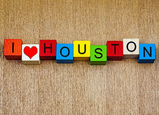 I 'heart' Houston spelled out in colored tiles