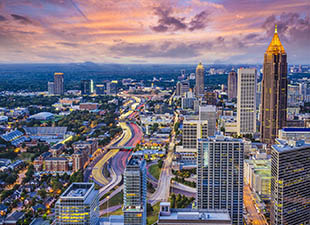 Aerial view of Atlanta Georgia skyline at dusk