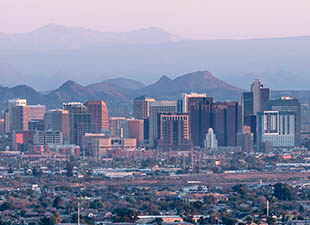 Aerial view of Phoenix cityscape