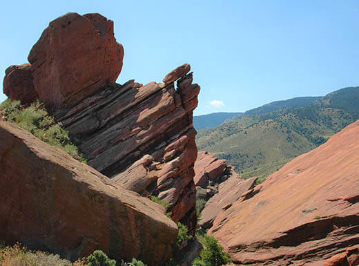 Layered rock formations at Red Rocks outside Denver, CO