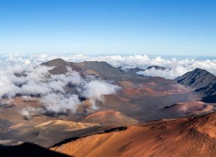 Panoramic view of Haleakala Crater in Maui, Hawaii, on a clear sunny day