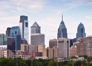 The Philadelphia center city skyline shines on a beautiful Spring day