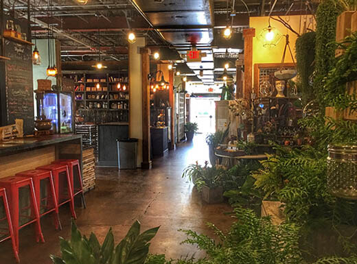 Interior shot of food stalls in the East End Market in Orlando, FL