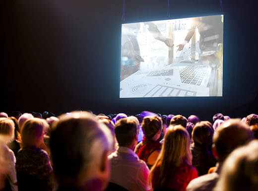 An audience of movie-goers are pictured watching a film at the SXSW music festival in Austin, Texas