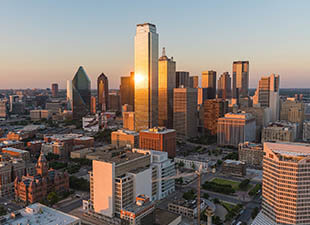 aerial view of Dallas cityscape at dawn