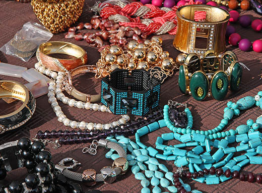 Variety of hand-made vintage jewelry -  turquoise, onyx, green, pink and purple bracelets and necklaces - for sale in Minneapolis, MN