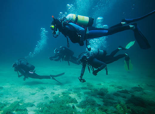 Four scuba divers underwater swim along the bottom of the deep blue ocean in San Jose, California