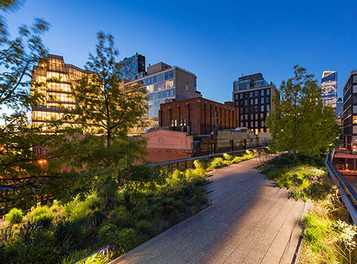 A landscape photo of Manhattan's High Line park pathway on a clear evening with buildings illuminated in the background