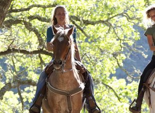 2 women ride horses along tree-lined path in Dallas, TX