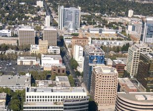 Aerial view of downtown San Jose, California, on a clear day