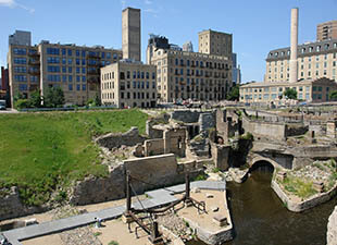 A view of the Mill City Ruins in Minneapolis, Minnesota, on clear sunny day