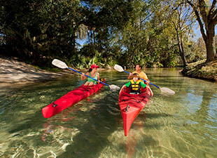 kayaking on the Wekiwa River near Orlando, FL