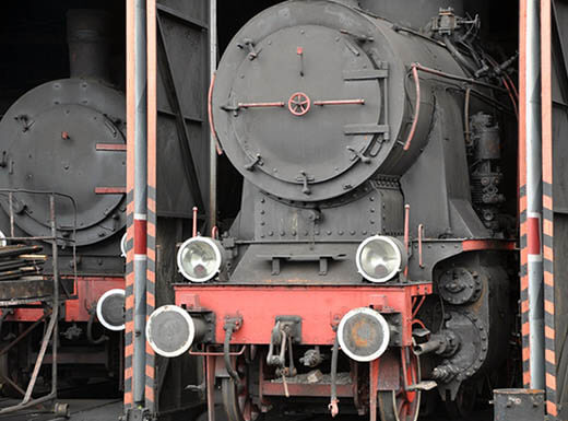 An old steam locomotive at Portland train museum