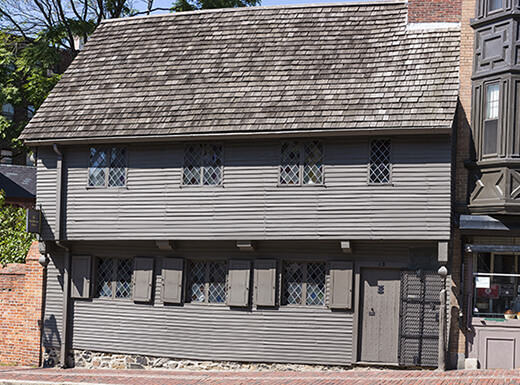External view of gray Paul Revere House in Boston
