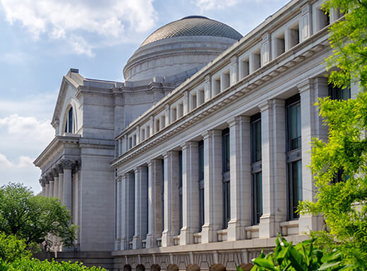 External view of Smithsonian National Museum of Natural History in Washington, DC during daytime.