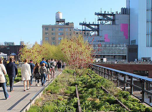 People walking along the High Line Walkway in NYC on clear day.