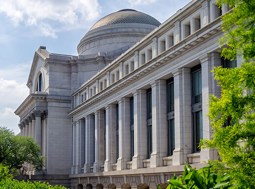 An exterior view of the Smithsonian National Museum of Natural History building in Washington, D.C. on a sunny day.