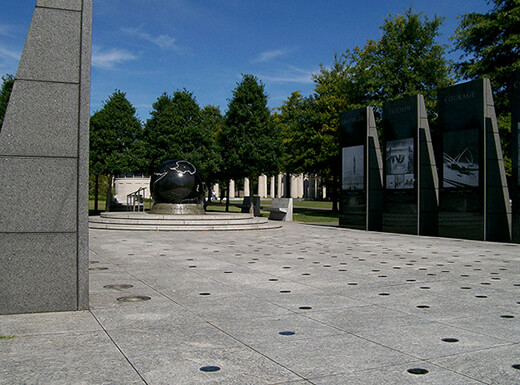 The Tennessee Bicentennial Capitol Mall State Park in Nashville, showing a memorial that is hit by the afternoon sun.