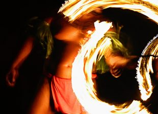 Fire dancers at Hawaiian luau.