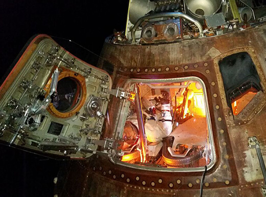 Interior view of the Apollo 17 capsule on display at Houston Space Center.
