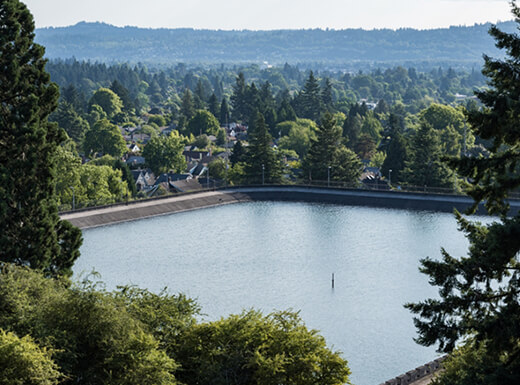 A view of Mount Tabor Reservoir surrounded by green trees and evergreens in Southeast Portland, Oregon on a cloudy day.