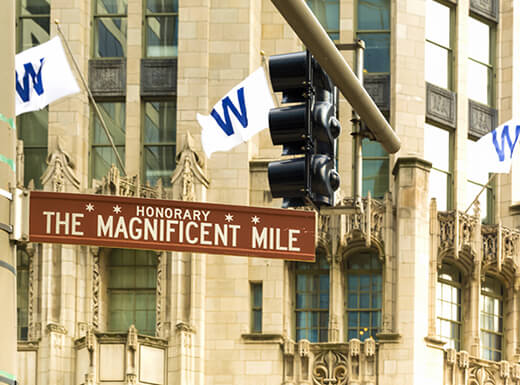 A daytime photo of the brown street sign for Chicago's Magnificent Mile.
