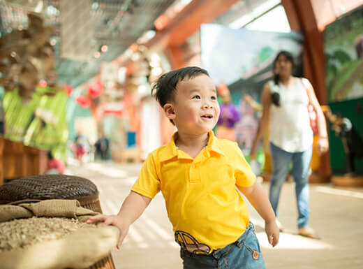 A young boy wearing a yellow shirt looking at something interesting at the New York Hall of Science on a bright afternoon.