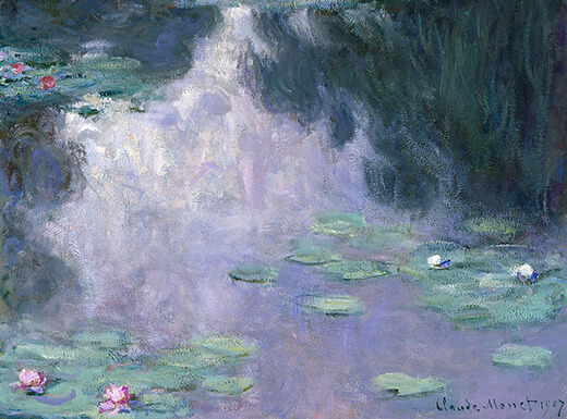Water Lilies by French Impressionist Claude Monet, at the Museum of Fine Arts, Houston. Gift of Mrs. Harry C. Hanszen. This image is in the public domain.