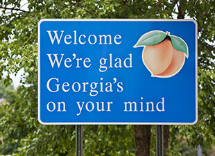 A close view of Georgia's blue welcome sign at their state line, featuring a peach, in front of leafy green trees.